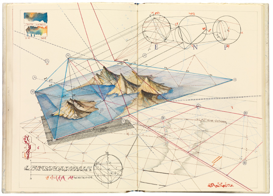 open book with watercolor topographic diagrams and symbols