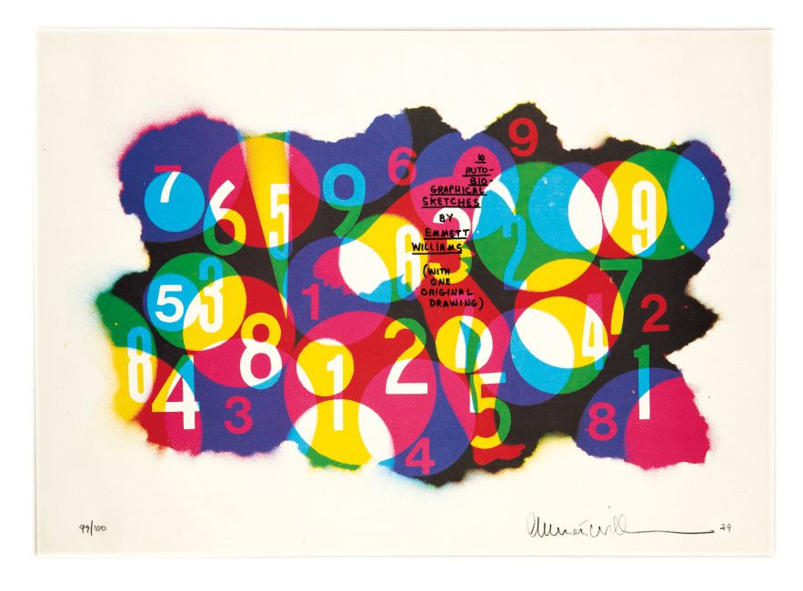 Lot 415: Emmett Williams, 10 Auto-Biographical Sketches, stencil and spray paint, 1979.