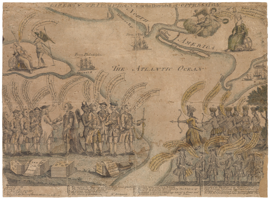 Liberty Triumphant or the Downfall of Oppression, hand-colored, depicting the aftermath of the Boston Tea Party, circa 1774.