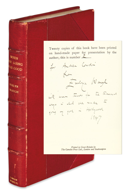 Evelyn Waugh, When the Going was Good, presentation copy, signed & inscribed to Andrea Cowdin, London, 1946.