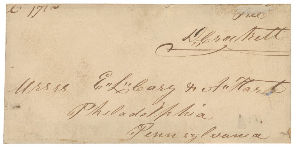 Lot 9: Davy Crockett, franking signature on holograph address panel to Carey & Hart, who published his autobiography, circa 1834.