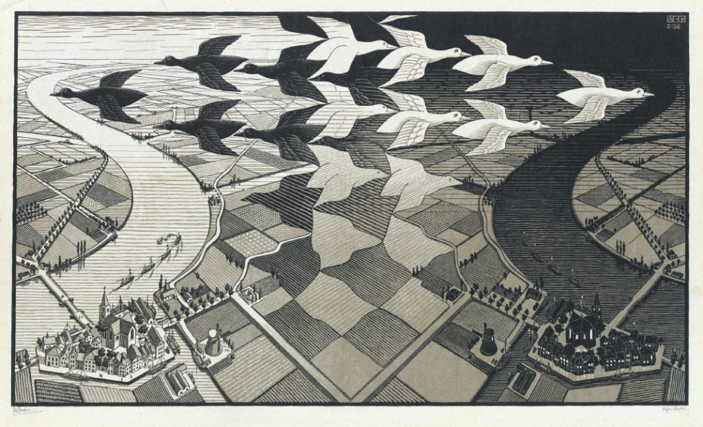 Maurits C. Escher, Day and Night, color woodcut, 1935.