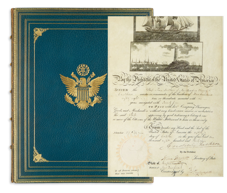 Lot 74: Autograph album with 30 items signed, some inscribed, by one of the first 32 U.S. Presidents, 1775-1932.