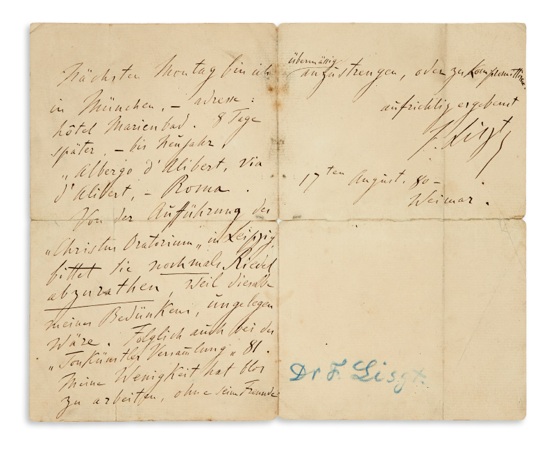 Lot 138: Franz Liszt, autograph letter signed to the General German Music Association, Weimar, 1880.