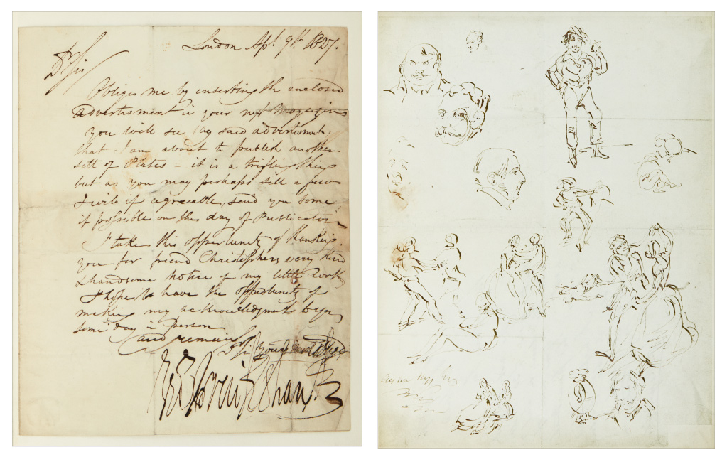 Lot 192: George Cruikshank, album archive including letters and over 200 drawings, 1820s-60s.