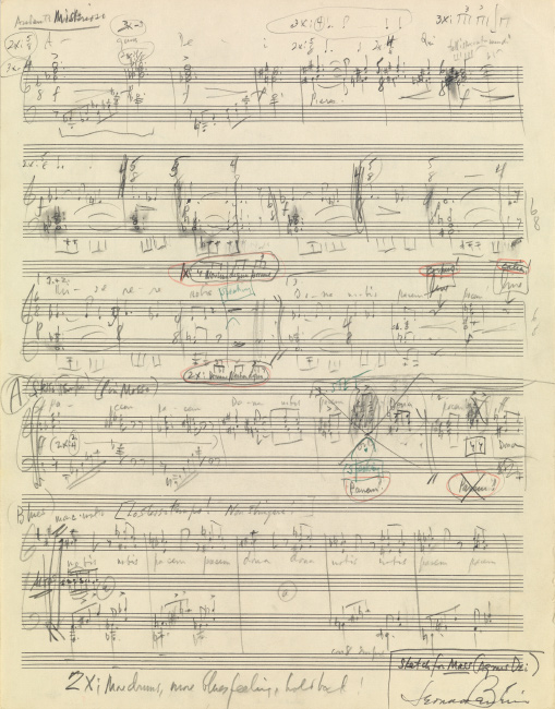 Lot 132: Leonard Bernstein, autograph musical manuscript signed, sketch for Agnus Dei movement from Mass, circa 1970.