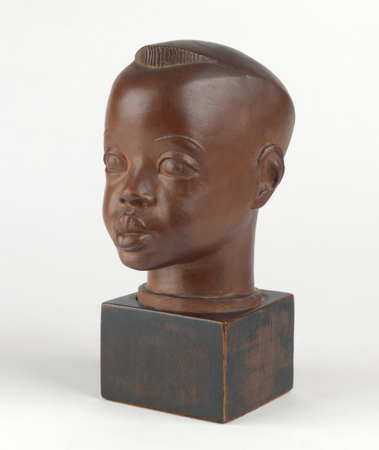 Sargent Johnson, Head of a Negro Boy, painted terra cotta with a wood base, circa 1934. $80,000 to $120,000.