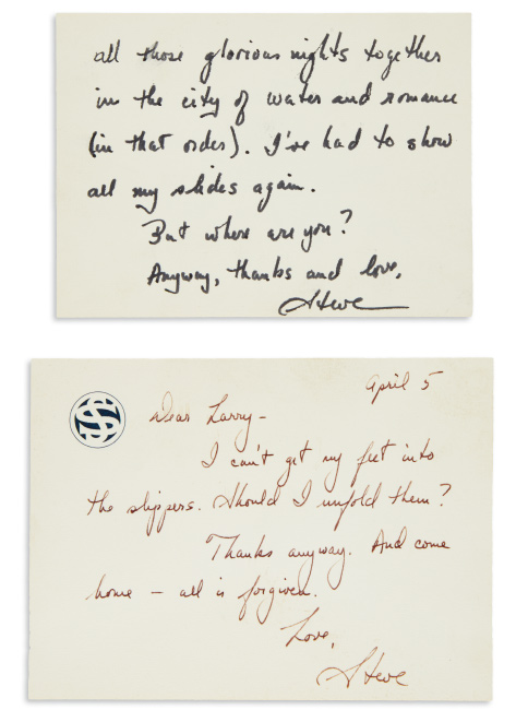 Lot 148: Stephen Sondheim, archive of 77 items to Larry Miller, 1963-2006.