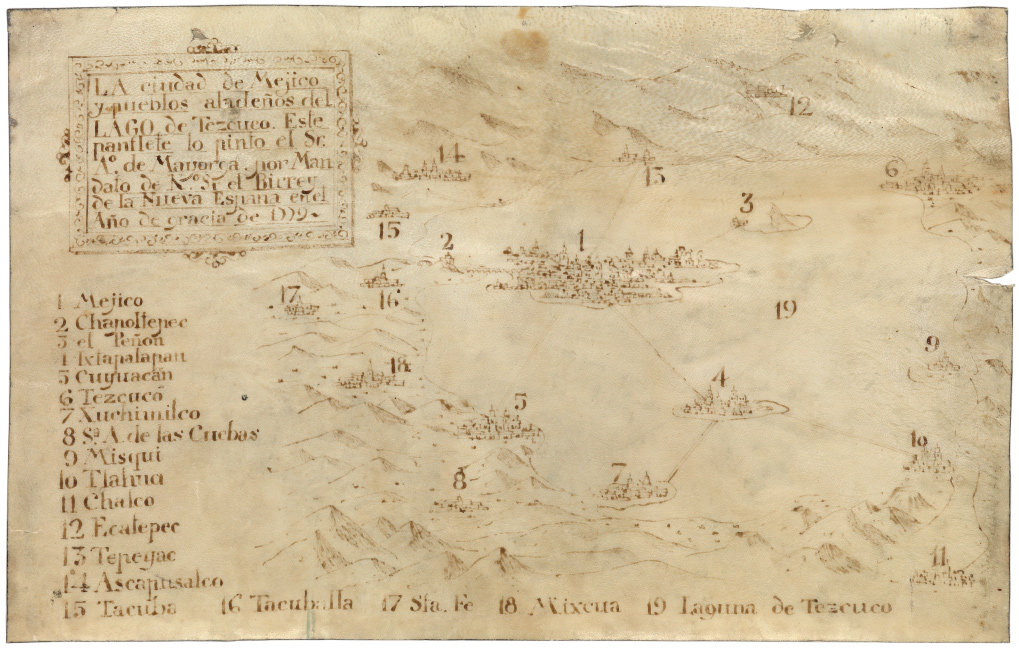 manuscript map of Mexico City from colonial era, 1779.