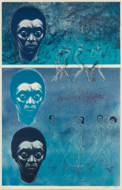 Elizabeth Catlett, Blues, color offset lithograph, 1983.