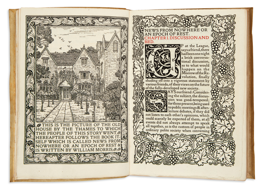 William Morris, News from Nowhere: or, an Epoch of Rest, Being Some Chapters from a Utopian Romance, Kelmscott Press, 1892.