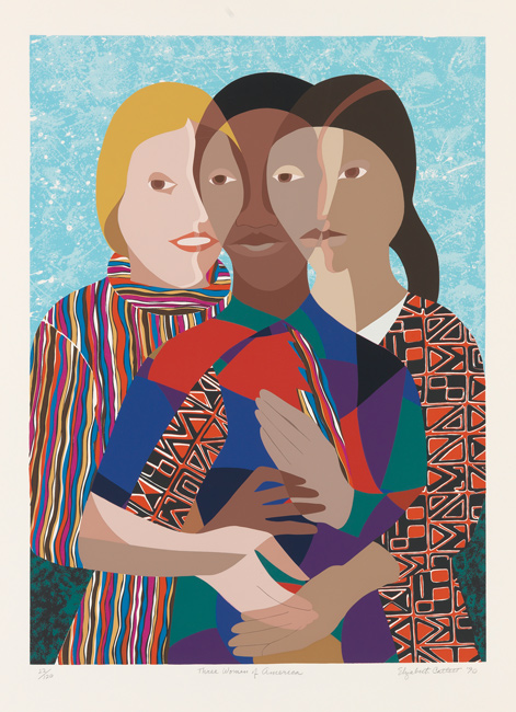 Elizabeth Catlett, Three Women of America, color screenprint, 1990.