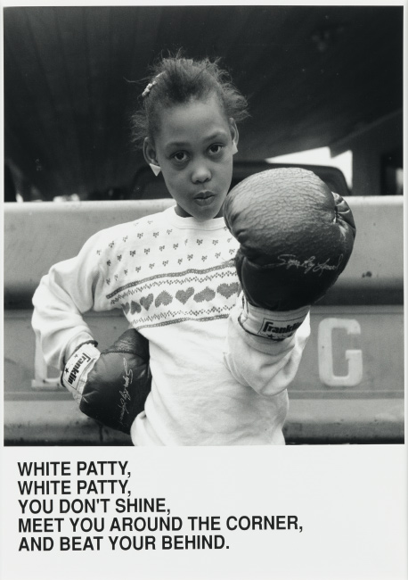 Carrie Mae Weems, White Patty, White Patty, You Don't Shine, Meet You Around the Corner, And Beat Your Behind, silver gelatin print with printed text, 1987. $20,000 to $30,000.