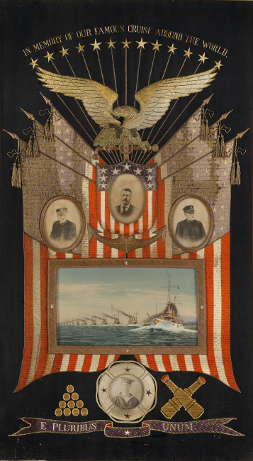 embroidered commemorative display of the Great White Fleet, with embedded portraits, and patriotic insignia