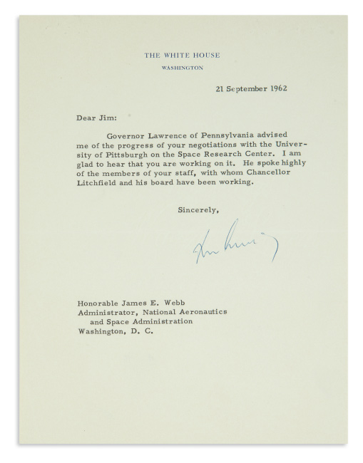 Lot 94: John. F. Kennedy, typed letter signed as President to NASA Administrator James E. Webb, 1962.