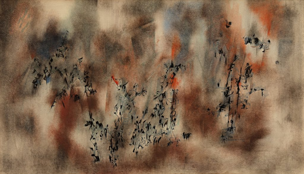 tan abstract composition with orange highlights and figures in black ink