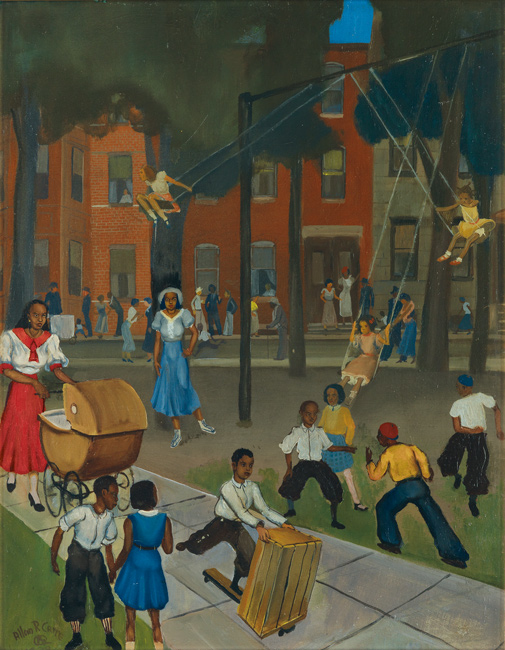 Allan Rohan Crite, Play at Dark (Westminster Street, Madison Park), oil on canvas board, 1935.