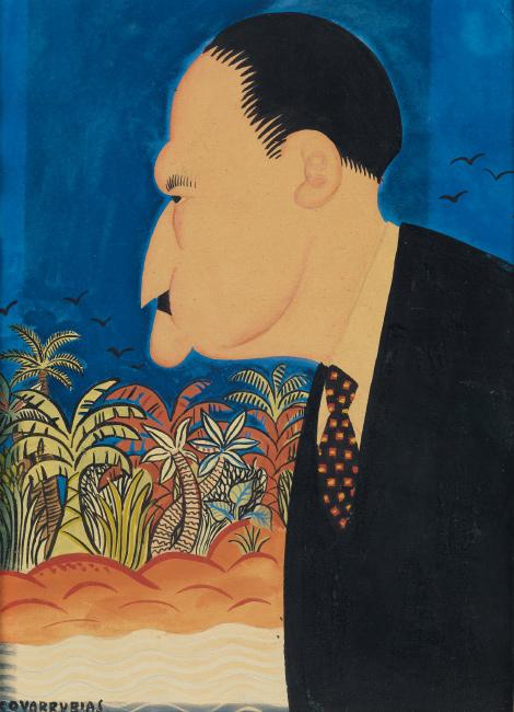 Miguel Covarrubias, Portrait of Somerset Maugham, gouache, circa 1925.