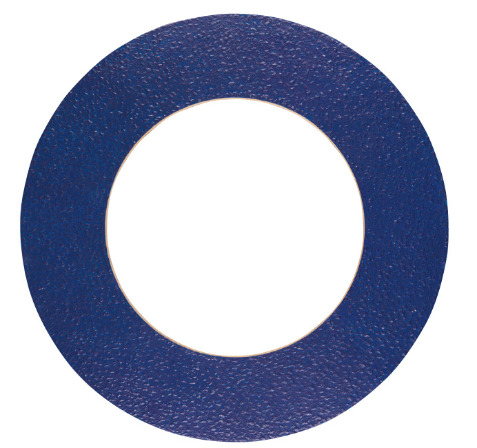 wooden circle colored blue