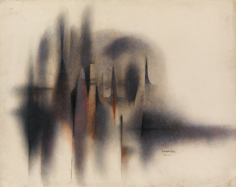 Lot 34: Norman Lewis, Untitled (Abstract Composition), oil and ink on paper, 1951. $10,000 to $15,000.