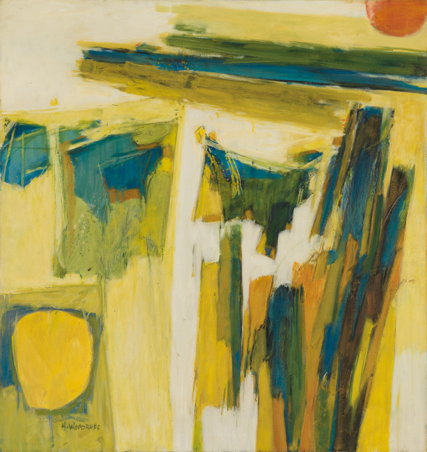 Lot 57: Hale Woodruff, Untitled (Abstract Composition), oil on canvas, circa 1965. $40,000 to $60,000.