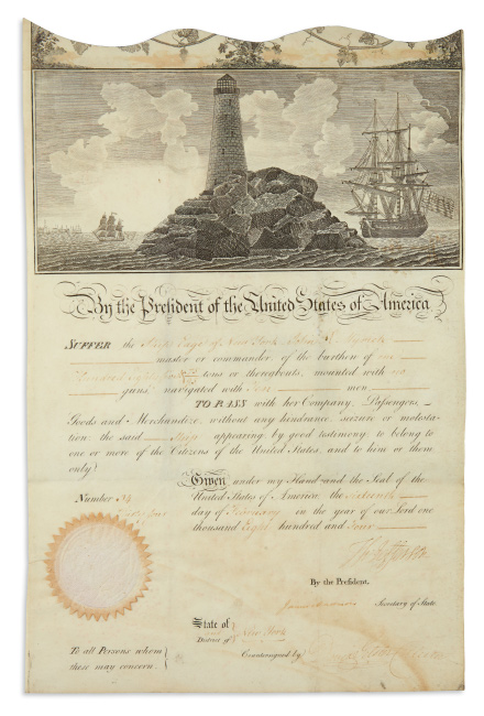 Lot 88: Thomas Jefferson, ship's papers for the Eage signed as President, countersigned by Secretary of State James Madison, 1804.