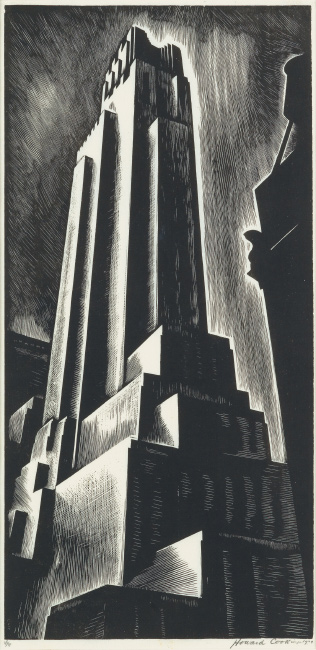 Howard Cook, Skyscraper, wood engraving, 1928.