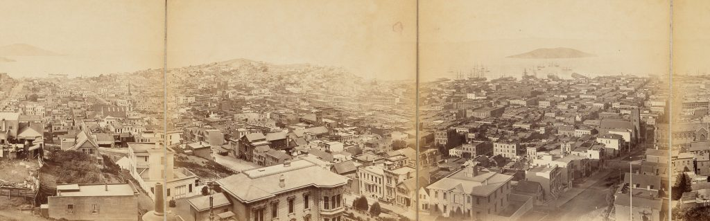 Eadweard Muybridge, Panorama of San Francisco from California St. Hill (cropped detail),