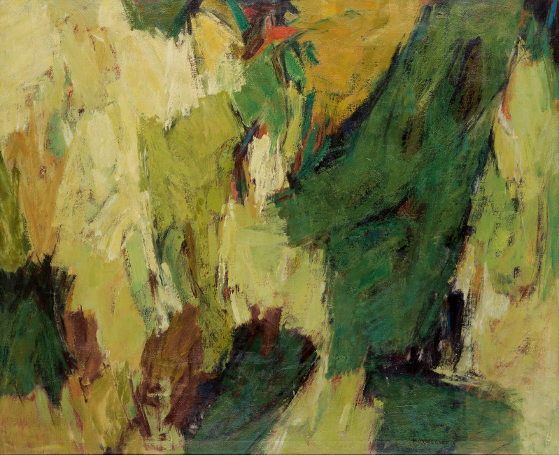 Lot 58: Hale Woodruff, Landscape No. 2, oil on canvas, circa 1966. $75,000 to $100,000.