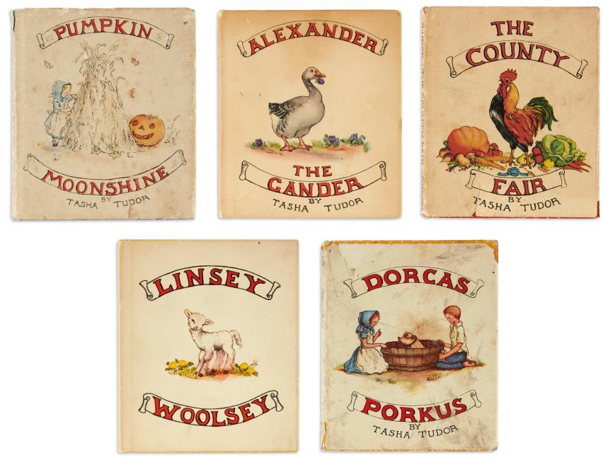pumpkin moonshine, alexander the cander, the county fair, linsey woolsey, dorcas porkus by tasha tudor.