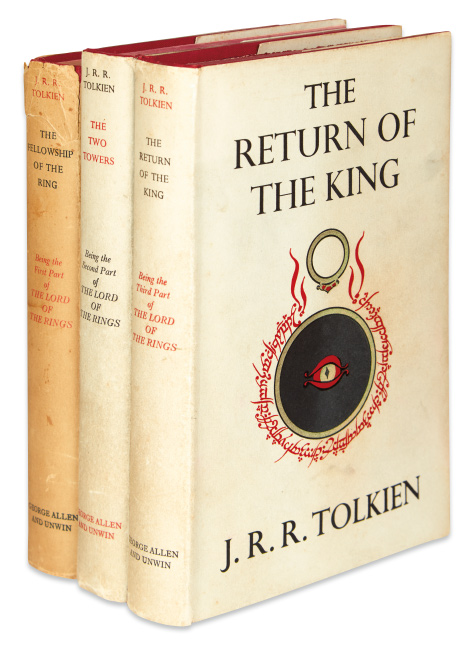 J.R.R. Tolkien, The Lord of the Rings, three first editions with folding maps in rear of each volume, London, 1954-55.