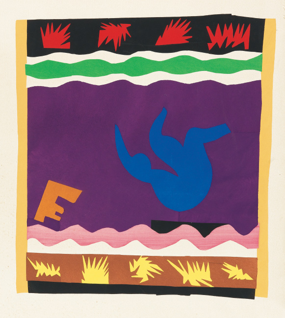Henri Matisse, Le Tobogan, color pochoir, 1947.