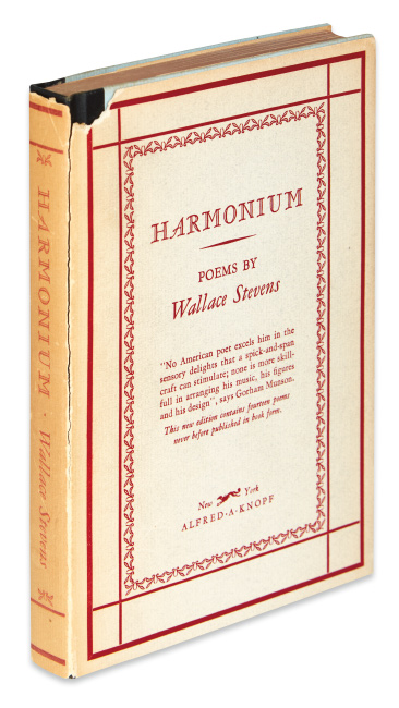 "Wallace Stevens, Harmonium, signed and inscribed: ""The basis of poetry is response,"" New York, 1931."