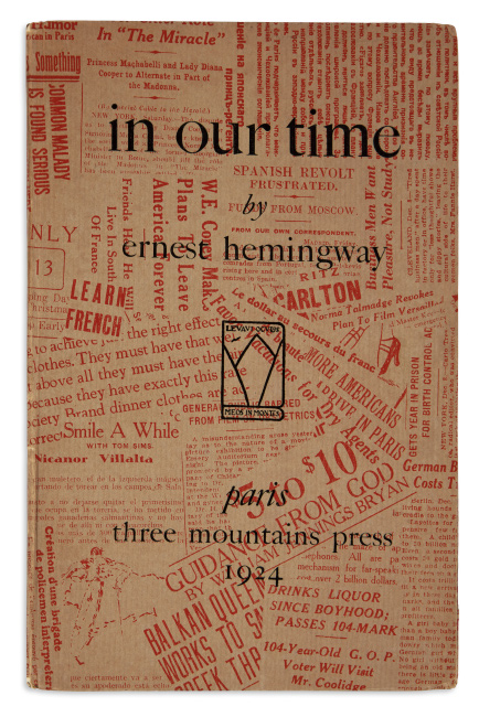 Ernest Hemingway, in our time, limited Paris first edition, Three Mountains Press, 1924.
