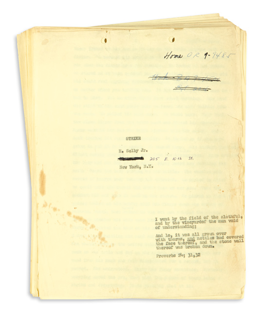 Hubert Selby Jr., Last Exist to Brooklyn, carbon typescript, early draft, as submitted to Grove Press, New York, 1964.