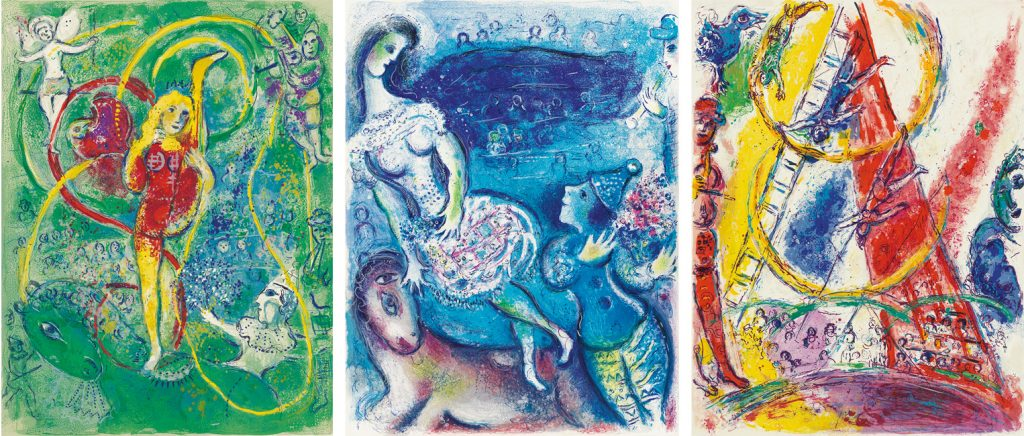 three colorful lithographs of the circus by Marc Chagall