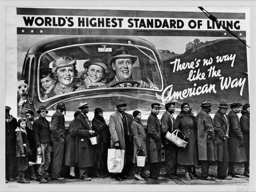 Margaret Bourke-White, silver print photograph of people standing in line in Louisville Kentucky, 1936.