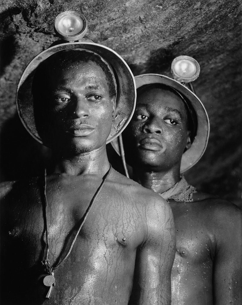 Margaret Bourke-White, Gold Miners Nos. 1139 and 5122, silver print photograph of two male gold miners, 1950.
