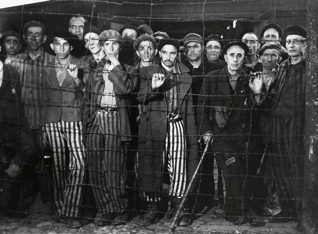 Margaret Bourke-White, The Liberation of Buchenwald, silver print photograph of holocaust survivors as Buchenwald death camp, 1945.