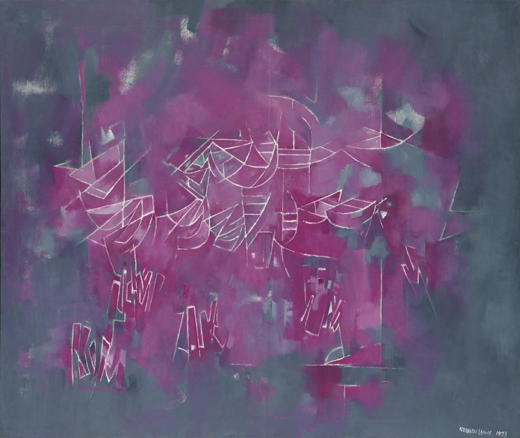Norman Lewis, Block Island, purple and gray abstract oil on canvas, 1973-75.