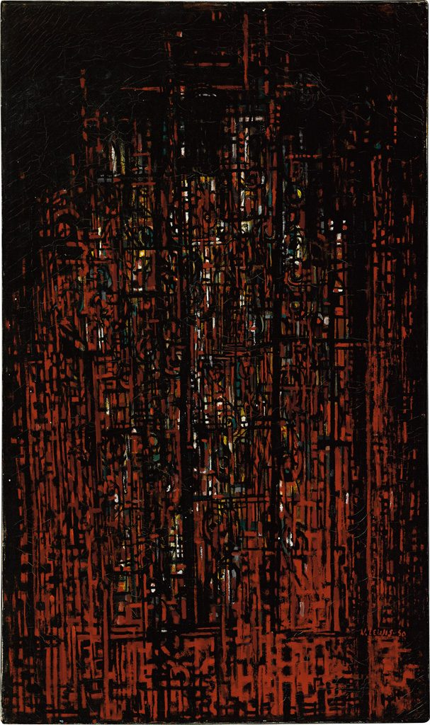 Norman Lewis, Cathedral, red and black abstract oil on canvas resembling a stained-glass window, 1950.