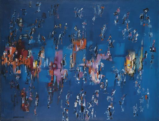 Norman Lewis, Untitled, blue abstract oil on canvas with swatches of red, purple and yellow, circa 1957.