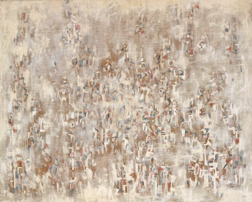 Norman Lewis, Untitled, washes of white and beige abstract oil on canvas, circa 1958.