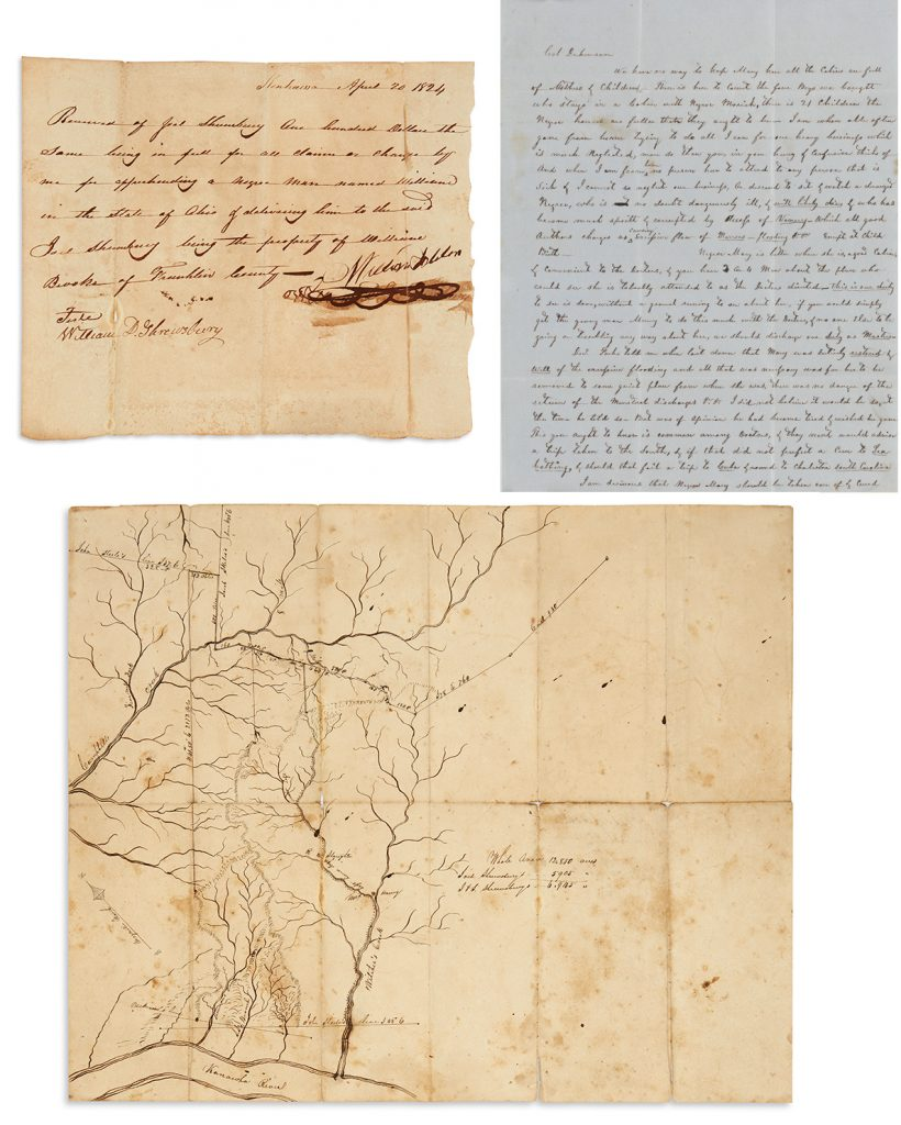 Records of the Dickinson & Shrewsbury salt works, more than 2000 items, including extensive slave labor correspondence, legal records, receipts, memorandum books, 1801-1908. $80,000 to $120,000.