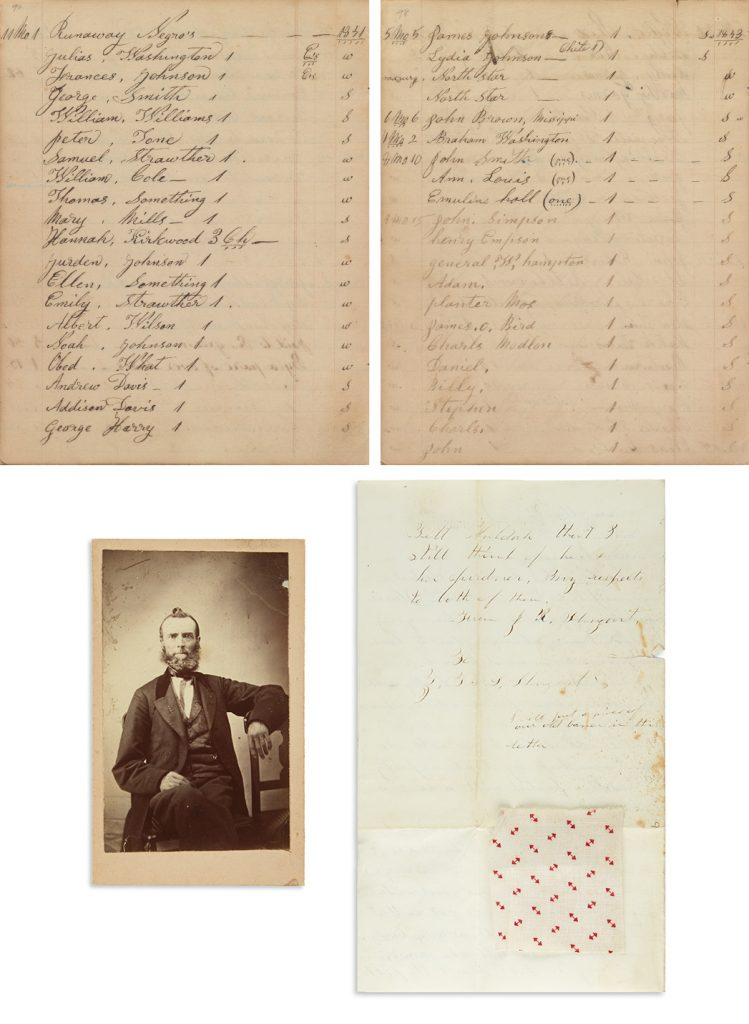 Shugart family papers including documentation of the Underground Railroad, 63 items, 1838-81. $30,000 to $40,000.