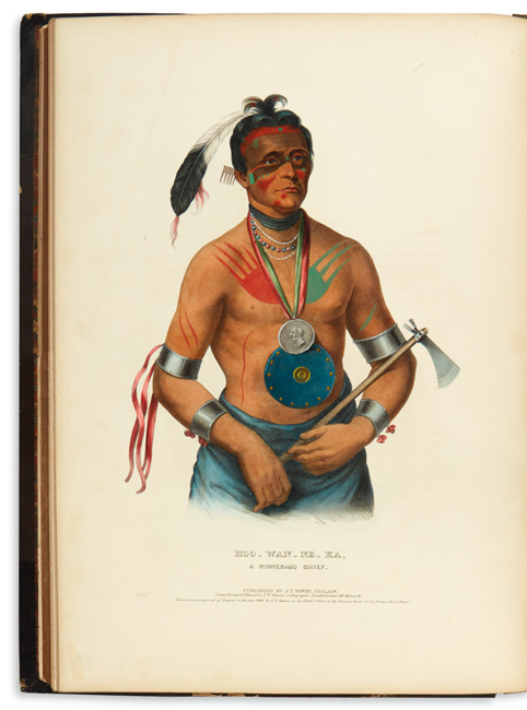 illustration of a native american person in tribal outfit, thomas l. mckenney & james hall, 1842-44.