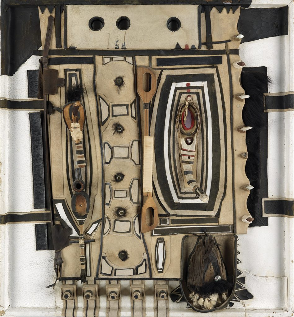 Noah Purifoy, Untitled (Zulu series), mixed-media assemblage with leather, felt, suede, fur, wood & various found objects, 1970-71.