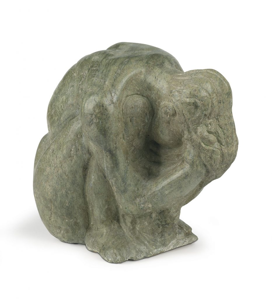 Lot 80: Selma Burke, Sadness, carved green marble, 1970. $12,000 to $18,000.