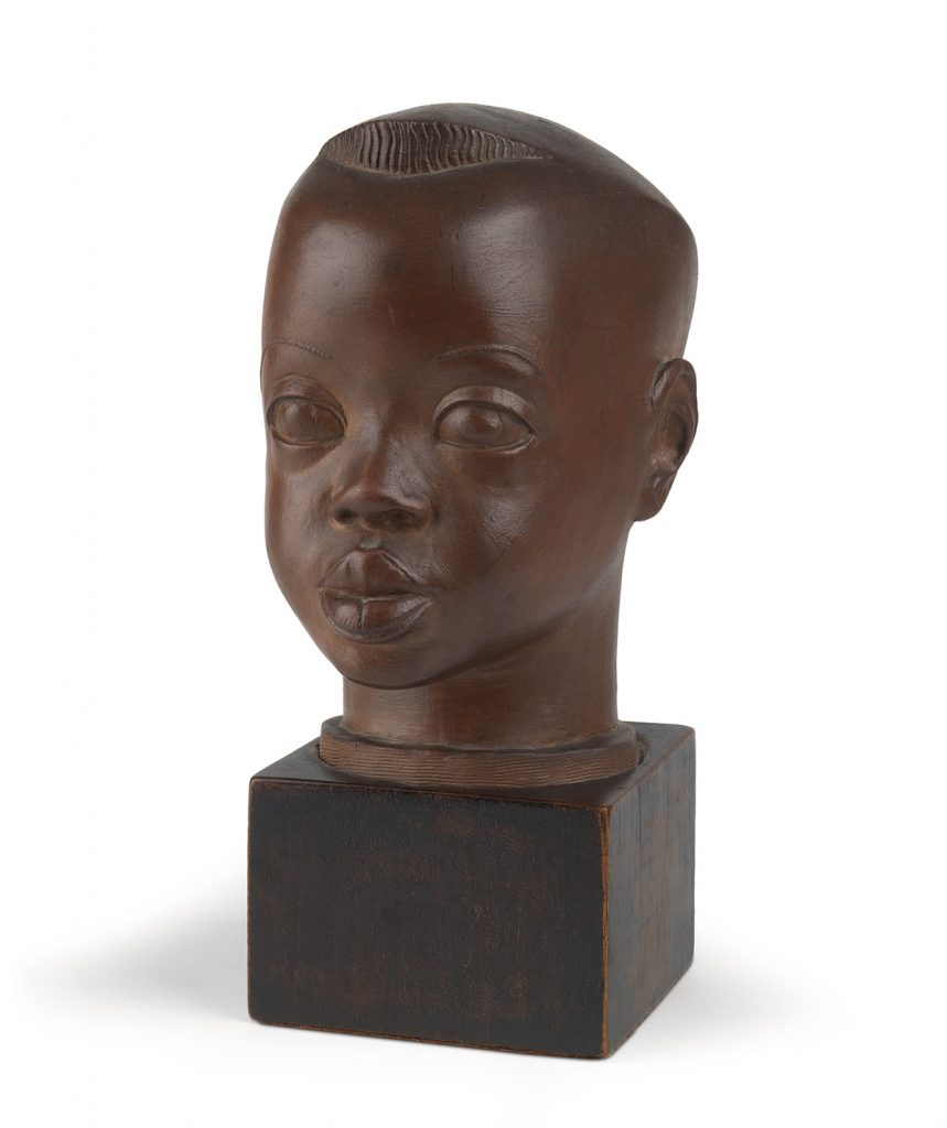 Sargent Johnson, Head of a Negro Boy, painted terra cotta with a wood base, circa 1934.