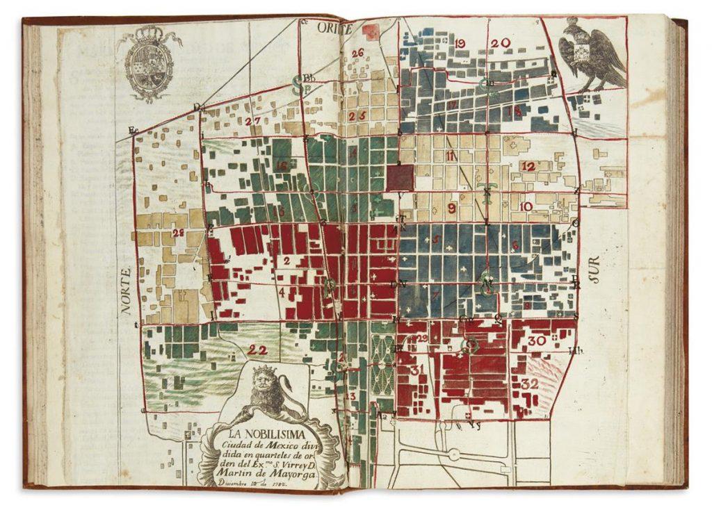 Martín de Mayorga & Manuel Villavicencio, Ordenanza de la division de la nobilisima ciudad de Mexico en quarteles, first edition, 1782. $6,000 to $9,000.